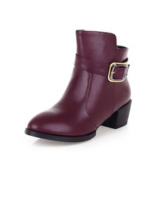 Leatherette Low Heel Ankle Boots With Buckle shoes
