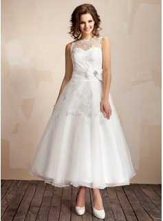 A-Line/Princess Scoop Neck Ankle-Length Taffeta Organza Wedding Dress With Ruffle Lace Crystal Brooch (002012216)