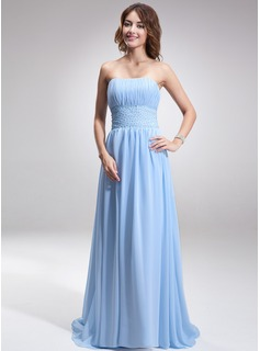 A-Line/Princess Strapless Sweep Train Chiffon Evening Dress With Ruffle Beading