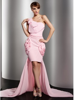 Sheath One-Shoulder Asymmetrical Chiffon Prom Dress With Ruffle Flower(s)
