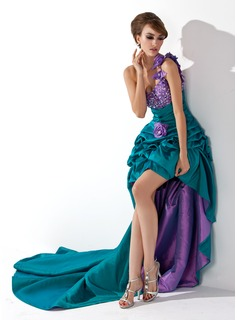 A-Line/Princess One-Shoulder Asymmetrical Taffeta Prom Dress With Ruffle Beading Flower