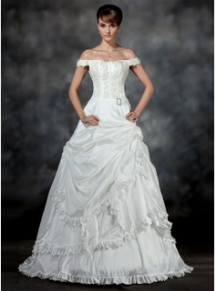 Ball-Gown Off-the-Shoulder Court Train Taffeta Wedding Dress With Ruffle Lace Beading Crystal Brooch