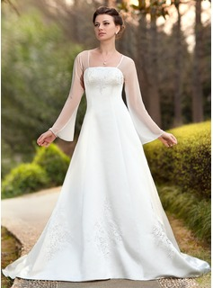A-Line/Princess Square Neckline Chapel Train Chiffon Satin Wedding Dress With Embroidery