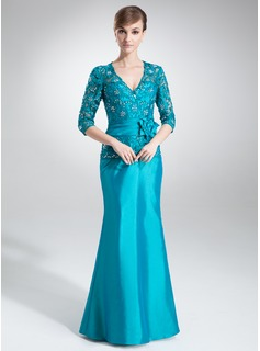 Sheath V-neck Floor-Length Taffeta Mother of the Bride Dress With Lace Beading Flower(s)