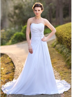 A-Line/Princess Sweetheart Chapel Train Chiffon Satin Wedding Dress With Ruffle Lace Beadwork Sequins (002004588)