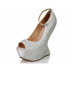 Satin Wedge Heel Sandals Peep Toe With Rhinestone shoes (087040907)