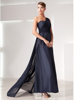 A-Line/Princess One-Shoulder Watteau Train Chiffon Evening Dress With Ruffle (017014437)