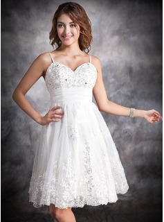 A-Line/Princess Sweetheart Knee-Length Organza Satin Wedding Dress With Ruffle Lace Beading