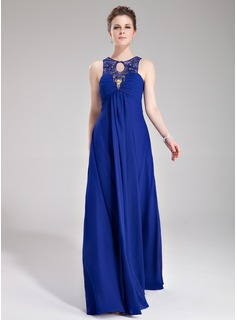 Empire Scoop Neck Floor-Length Chiffon Tulle Evening Dress With Ruffle Lace Beading (017019757)