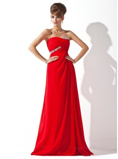 Empire Sweetheart Floor-Length Chiffon Evening Dress With Ruffle Beading (017013788)
