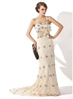 A-Line/Princess One-Shoulder Sweep Train Chiffon Charmeuse Lace Mother of the Bride Dress With Ruffle Beading Sequins