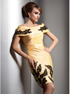Sheath/Column Off-the-Shoulder Knee-Length Taffeta Evening Dress With Lace Beading Sequins