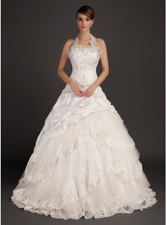 Ball-Gown Halter Chapel Train Taffeta Organza Wedding Dress With Lace Beadwork