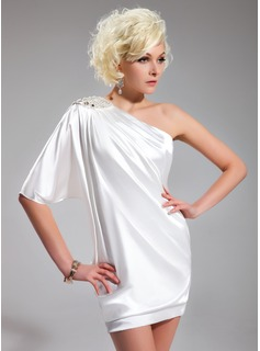 Sheath One-Shoulder Short/Mini Charmeuse Cocktail Dress With Beading (016022563)
