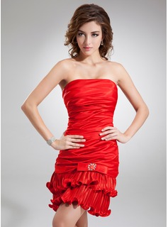 Sheath/Column Strapless Short/Mini Charmeuse Cocktail Dress With Beading Bow(s) Pleated