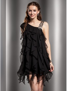 Sheath V-neck Short/Mini Chiffon Cocktail Dress With Beading