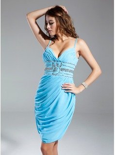 Sheath Sweetheart Knee-Length Chiffon Cocktail Dress With Ruffle Beading (008015337)