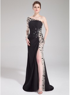 A-Line/Princess One-Shoulder Sweep Train Chiffon Tulle Prom Dress With Ruffle Beading (018043984)