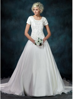 Ball-Gown Square Neckline Cathedral Train Organza Satin Wedding Dress With Embroidery Beadwork Sequins
