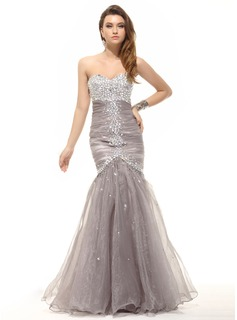 Mermaid Sweetheart Floor-Length Organza Prom Dress With Ruffle Beading (018016098)