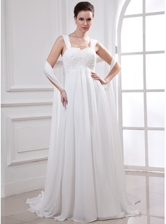 Empire Sweetheart Watteau Train Chiffon Wedding Dress With Lace Beadwork