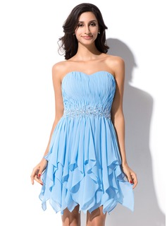 A-Line/Princess Sweetheart Asymmetrical Chiffon Homecoming Dress With Beading Sequins Cascading Ruffles