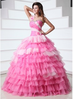 Ball-Gown One-Shoulder Floor-Length Organza Quinceanera Dress With Beading Flower(s) Cascading Ruffles