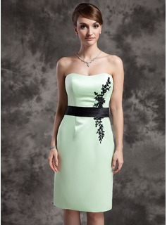 Sheath Sweetheart Knee-Length Satin Mother of the Bride Dress With Lace Sash Beading Sequins