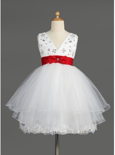 Empire V-neck Knee-Length Satin Tulle Flower Girl Dress With Lace Sash Beading Sequins