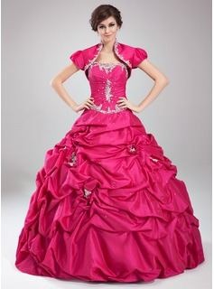 Ball-Gown Sweetheart Floor-Length Taffeta Quinceanera Dress With Ruffle Lace Beading (021004559)