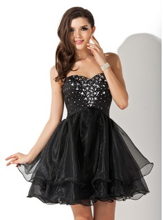 A-Line/Princess Sweetheart Short/Mini Organza Satin Homecoming Dress With Beading (022010565)
