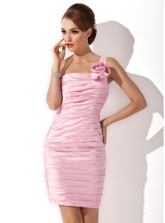 Sheath One-Shoulder Knee-Length Taffeta Cocktail Dress With Ruffle Flower(s)