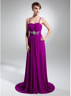A-Line/Princess Sweetheart Court Train Chiffon Evening Dress With Ruffle Beading (017015321)