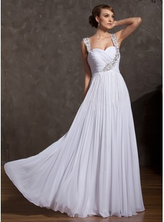 Empire Sweetheart Floor-Length Chiffon Holiday Dress With Ruffle Beading (020025842)