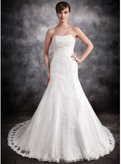 Mermaid Sweetheart Chapel Train Organza Satin Wedding Dress With Lace Beadwork