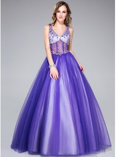 Ball-Gown V-neck Floor-Length Tulle Charmeuse Prom Dress With Beading