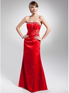 Sheath Strapless Floor-Length Satin Evening Dress With Ruffle Beading