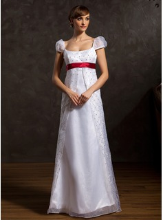 A-Line/Princess Scoop Neck Floor-Length Organza Charmeuse Wedding Dress With Sash Beading