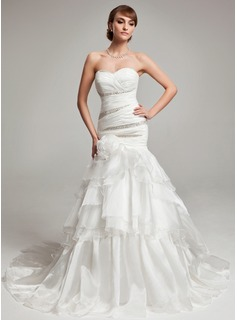 Mermaid Sweetheart Court Train Organza Wedding Dress With Ruffle Beadwork