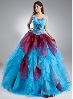 Ball-Gown Scalloped Neck Floor-Length Organza Satin Quinceanera Dress With Beading Flower(s) Cascading Ruffles