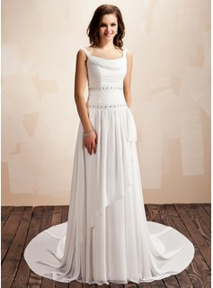 A-Line/Princess Cowl Neck Court Train Chiffon Wedding Dress With Ruffle Beadwork
