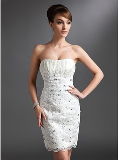 Sheath/Column Sweetheart Knee-Length Satin Lace Wedding Dress With Ruffle Beadwork