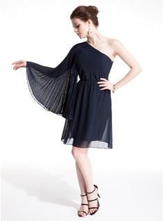 Sheath One-Shoulder Knee-Length Chiffon Cocktail Dress With Ruffle