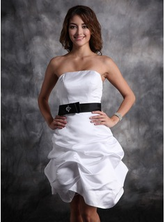 Sheath Strapless Short/Mini Satin Homecoming Dress With Ruffle Sash Beading (022020613)