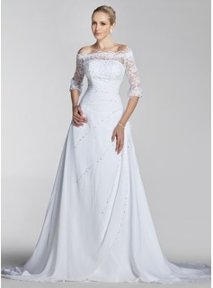 A-Line/Princess Off-the-Shoulder Court Train Chiffon Lace Wedding Dress With Beadwork Sequins