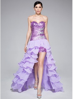 A-Line/Princess Sweetheart Asymmetrical Detachable Chiffon Charmeuse Sequined Prom Dress With Beading Cascading Ruffles