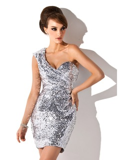 Sheath One-Shoulder Short/Mini Sequined Cocktail Dress (016008317)