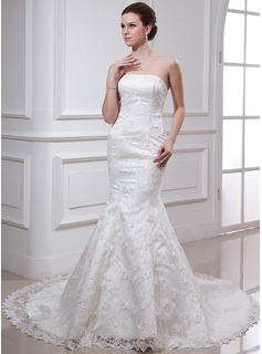 Mermaid Strapless Chapel Train Satin Lace Wedding Dress With Beadwork