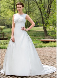 Ball-Gown Scoop Neck Chapel Train Satin Wedding Dress With Beadwork Sequins
