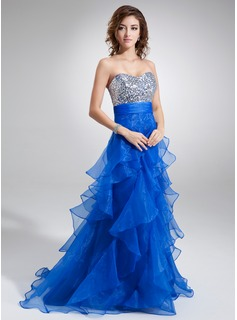 A-Line/Princess Sweetheart Floor-Length Organza Sequined Prom Dress With Ruffle (018004862)